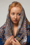 Blonde woman in colored shawl etnic style Royalty Free Stock Photo