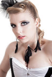 Blonde woman in a corset Royalty Free Stock Image