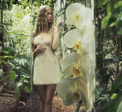 Blonde woman with curly hair among greenery Royalty Free Stock Image
