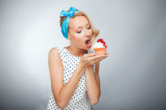 Blonde woman on diet Royalty Free Stock Image