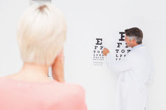 Blonde woman doing eye exam Stock Images