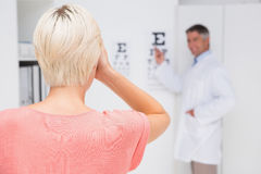 Blonde woman doing eye exam Royalty Free Stock Photography