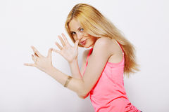Blonde woman doing funny expressions isolated on white Stock Photography