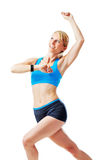 Blonde woman doing gym exercises. Isolated on white Royalty Free Stock Images