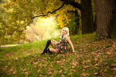 Blonde woman in dress relaxing under oak at park Royalty Free Stock Photo