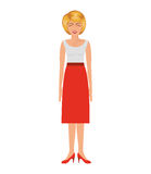 Blonde woman with eighties style and high waisted skirt Stock Image