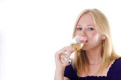 Blonde woman enjoying wine Stock Photos