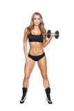 Blonde woman exercise with dumbbell Stock Photography
