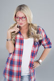Blonde woman with eyeglasses Stock Photos