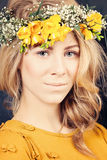 Blonde Woman with Flowers Royalty Free Stock Images