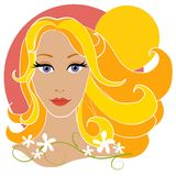 Blonde Woman Flowers And Sun vector illustration