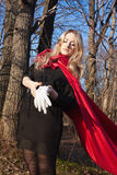 Blonde woman in forest Royalty Free Stock Photography