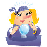 Blonde woman fortuneteller with crystal ball predicting the futu. Witch gypsy clairvoyant looking to a crystal sphere telling fate and destiny Royalty Free Stock Image
