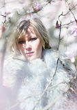 Blonde woman in fur stole Royalty Free Stock Photo