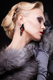 Blonde woman in fur Stock Images