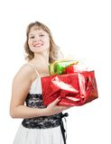 Blonde woman with  gifts Stock Photo