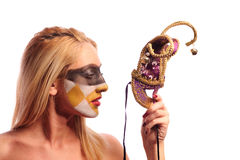Blonde woman with half mask Stock Photography
