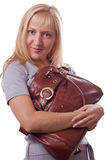 Blonde woman with handbag isolated. #1. Blonde woman with handbag. Isolated on white. #1 royalty free stock photography