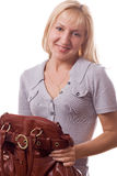 Blonde woman with handbag isolated. #2. Blonde woman with handbag. Isolated on white. #2 stock photo