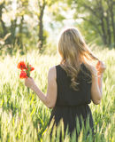 Blonde woman harvesting flowers Stock Photography