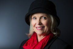 Blonde woman hat. Beautiful blonde middle aged woman in hat Stock Photography