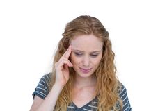 A blonde woman having headache Royalty Free Stock Image
