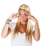 Blonde woman headache Stock Photos