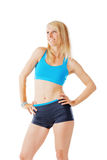 Blonde woman after her fitness program smiling Royalty Free Stock Image