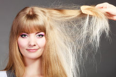 Blonde woman with her long healthy hair. Stock Photos