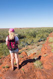 Blonde woman hiking outback Australia landscape Royalty Free Stock Photography