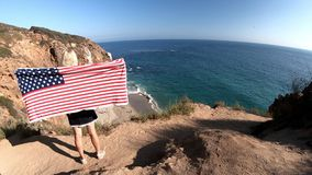 California travel patriotic flag stock footage
