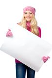 Blonde woman holding blank white paper. Over white Royalty Free Stock Photography