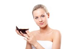 Free Blonde Woman Holding Coconut Stock Image - 25458321