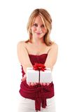 Blonde woman holding gift box Royalty Free Stock Photos