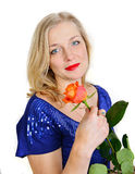 Blonde woman holding  rose Royalty Free Stock Image