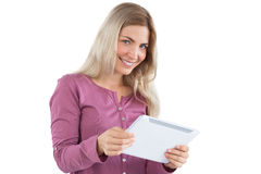 Blonde woman holding tablet pc Royalty Free Stock Photo