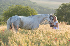 Blonde woman and horse Royalty Free Stock Images