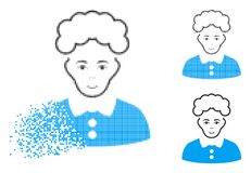 Disappearing Dot Halftone Blonde Woman Icon with Face. Blonde woman icon with face in dissolved, pixelated halftone and undamaged solid versions. Pixels are stock illustration