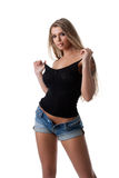 Blonde Woman In Black Tank Top And Jeans Stock Photos