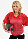 Blonde Woman In Red Mesh Football Jersey Royalty Free Stock Photography