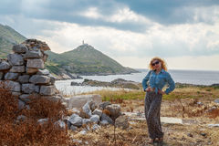 Blonde woman inside the ruins of knidos. Datca, Turkey Stock Photos