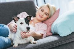 Blonde woman with jack russell terrier dog lying. On sofa stock images