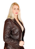 Blonde woman in leather jacket posing Royalty Free Stock Images