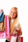 Blonde woman likes shopping Royalty Free Stock Photo