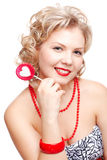 Blonde woman with lollipop Royalty Free Stock Photo