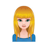 Blonde woman with long straight hair and bangs Royalty Free Stock Photos
