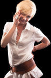 Blonde woman in long white shirt Stock Photography