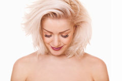 Blonde woman looked down Royalty Free Stock Photos