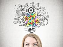 Blonde woman looking at business idea icons. Blonde young and beautiful businesswoman head. Bright and colorful lightbulb with a brain inside. Business plan and Royalty Free Stock Photo