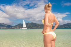 Blonde woman looking at a sail boat. Back view of a sexy blonde woman looking at a sail boat on the beach Royalty Free Stock Photo